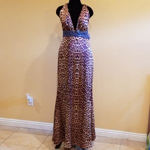 Jessica Simpson Leopard Beaded Gown Size 12